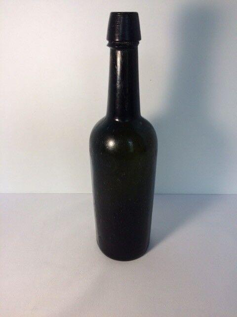 Dark Green Whiskey Bottle Applied Top Liquor Cylinder w / Seed Bubbles