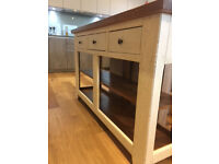 Beautiful hand-made solid oak sideboard with shelving and three drawers