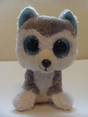 Ty Beanie Boos **SLUSH** Siberian Husky Dog BLUE SPARKLY Eyes!