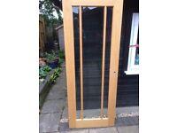 Internal doors (2) - Light Oak - glazed with toughened glass