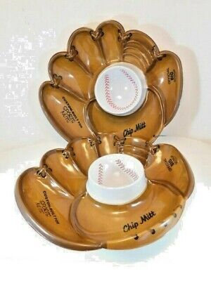 CHIP MITT Baseball Glove Chip and Dip Bowl Custom Built for Sports Nuts, Pair.