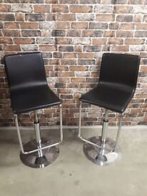 2X KITCH BAR STOOLS BLACK LEATHER AND CHROME £50 THE PAIR