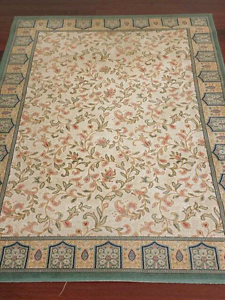 Green and beige rug with floral design (230 x 170 cm) Lilyfield Leichhardt Area Preview