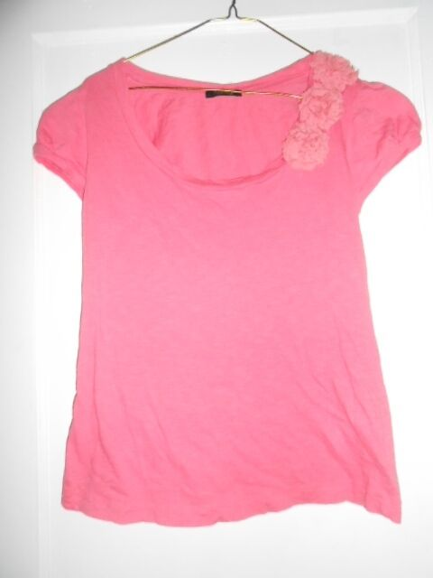 VTG Ladies Three Floral Bow Pink Short Sleeved Puff Shoulder T-Shit L