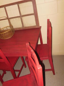 wood table and chairs in red London Ontario image 4