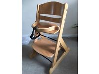 OBaby Megan wooden high chair with detachable safety bar