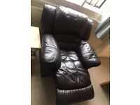 Dark brown real leather recliners 2 seater and 1 seater