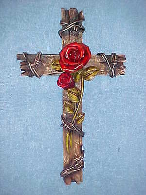 Red Rose Cross Wall Hanging Decor, Old Barn Wood Look