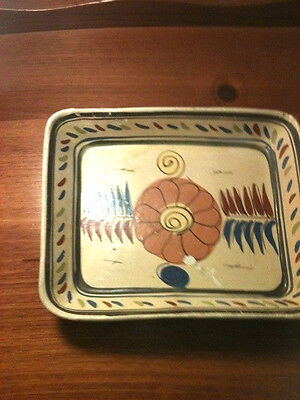 MEXICAN CLAY POTTERY NESTING DISH HANDMADE RECTANGULAR circa 1940'-50's