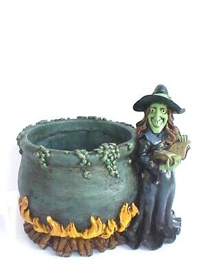 Classic Witch Spell Book With Bubbling Cauldron Resin Holloween Candy Bowl Set