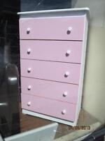 Pink and White Chest of Drawers