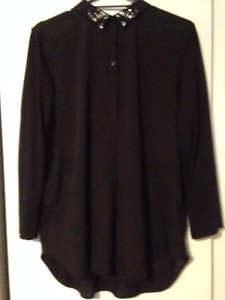 H&M BlackBlouse with Bejewelled Collar! Size XL