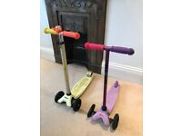 2 Fantastic Micro Scooters for sale - 1 purple Micro and 1 yellow Micro Maxi - Chiswick area