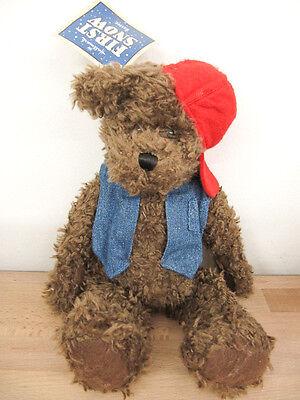 """NEW Hallmark First Snow """"Buster"""" Denim Vest Red Hat Brown Bear Plush"""