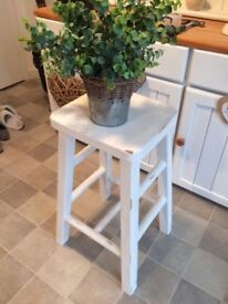 Stool White Chalk Pianted Shabby Chic Style