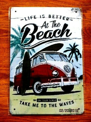 Life Is Better At The Beach Metal Tin Volkswagen SIGN Garage Wall decor Plaque