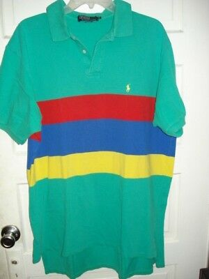 Ralph Lauren Polo Vtg Mens Casual Shirt Green Red Yellow Blue Color Block XL