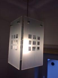 Pair of glass pendant light fittings