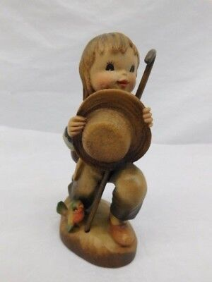ANRI ITALY CARVED WOOD FIGURE CHILD WITH HAT AND BIRD 44/2250 SIGNED NUMBERED