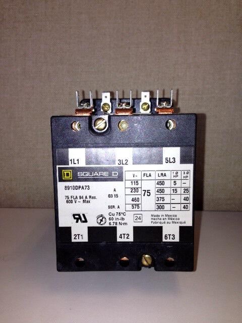 Square D 8910DPA73V02, 75A, 3P, 120V Contactor