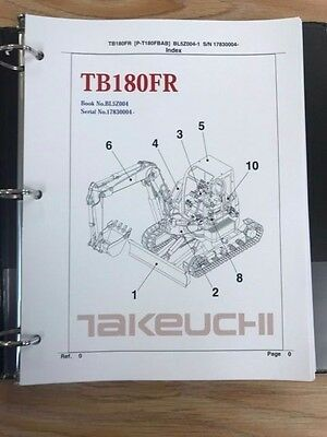 Takeuchi Tb180fr Parts Manual Sn 17830004 Free Priority Shipping