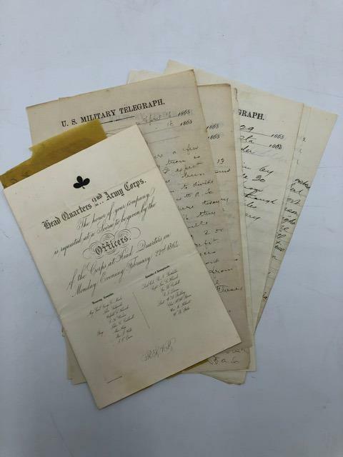 Ephemera & Telegram Lot Richard Batchelder Chief Quartermaster Civil War Potomac