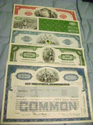 Lot of 5 Stock Certificates from 5 different companies, Ready to frame