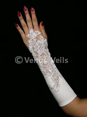 "11"" Ivory Bridal Wedding Fingerless Pearl Beaded Gloves"