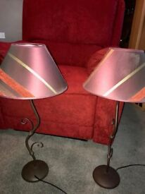 Two matching lampshades and stands