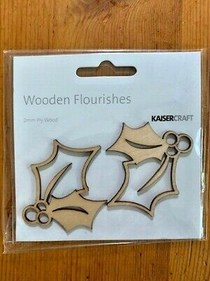 Kaisercraft Holly Wooden Flourishes, FL459, 2mm ply wood