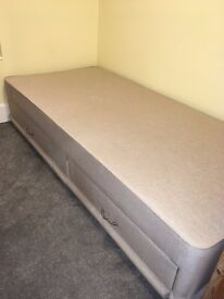 Single Divan Bed Base with Drawers