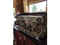 3 Group Barrista Machine with Bean grinder and attachments
