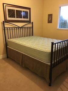 Bed frame - double bed box spring mattress.