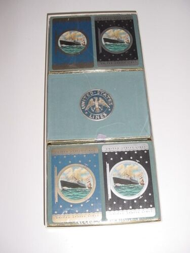 SS UNITED STATES LINES  A Set of (6) Decks of Insignia Playing Cards  /  N.O.S.