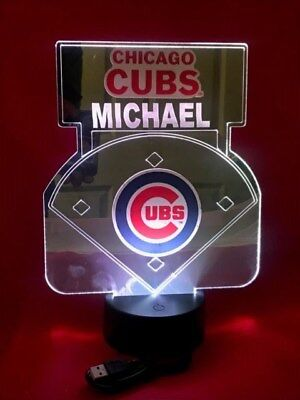 - Chicago Cubs MLB Baseball Mirror Stadium Light Up Lamp LED Remote Personalized