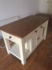 Solid pine kitchen island/large butcher block