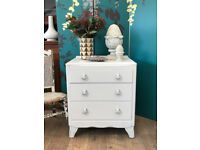 Shabby chic oak chest of 3 drawers
