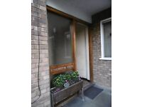 IROKO OR SIMILAR HARDWOOD ENTRANCE DOOR & SIDE LIGHT & IRONMONGERY & DOOR CLOSER