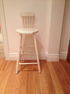 Charming White Wooden Vintage Children's Chair Stool