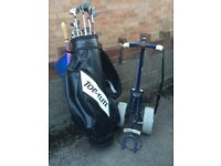 Selection of golf clubs & Drivers. Golf bag and trolley. Good condition.