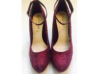 Wide Fit Burgundy Lace Ankle Strap Court Shoes (Size 40) UK 7