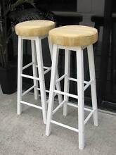 Pair French inspired White & Gold Bar / Breakfast Stools ~ As New Varsity Lakes Gold Coast South Preview