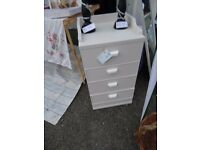 2 Bedside cabinets - painted and lined with papers and varnished