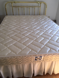 queen mattress, box spring, headboard & frame