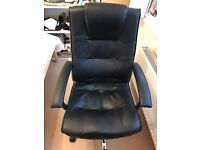 LEATHER OFFICE CHAIR, 360 DEGREE SWIVEL, RECLINE. EXCELLENT CONDITION, HAD VERY LITTLE USE