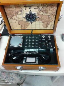 Replica Military field phone in wooden box London Ontario image 1