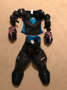 Bauer 2 piece kids full hockey equipment for sale