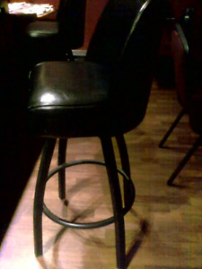 4 swivel leather chairs , metal legs , like brand new