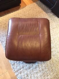 Tan brown leather foot stool