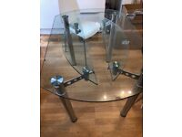 Glass Dining table and 4 white Chairs (super cheap) £30